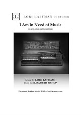 I Am In Need of Music — for mezzo-soprano and bass with piano — (download is for 3 copies of music)
